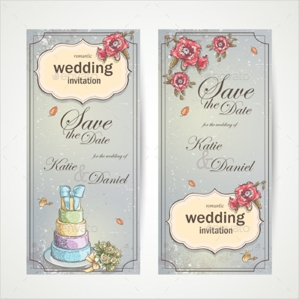 vertical wedding invitation banner template