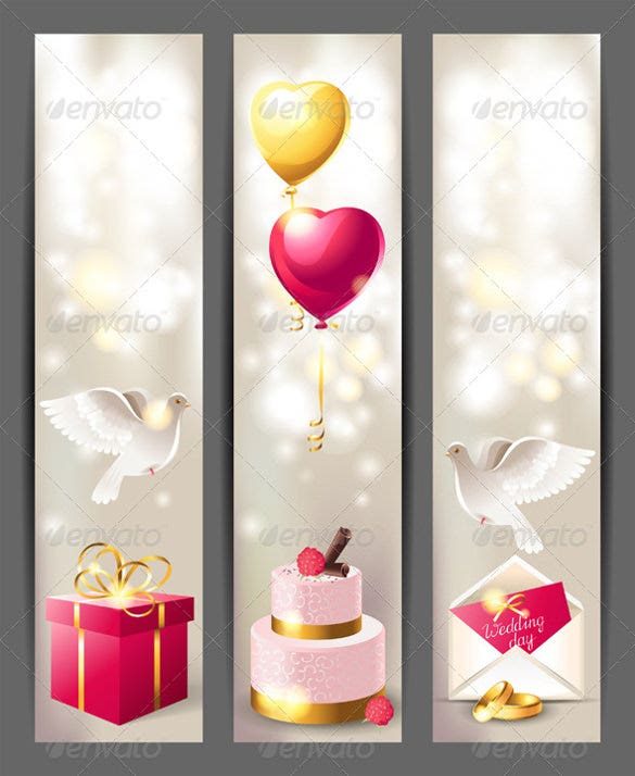 vertical wedding banner template with birds