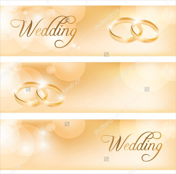 horizontal wedding banner template with rings