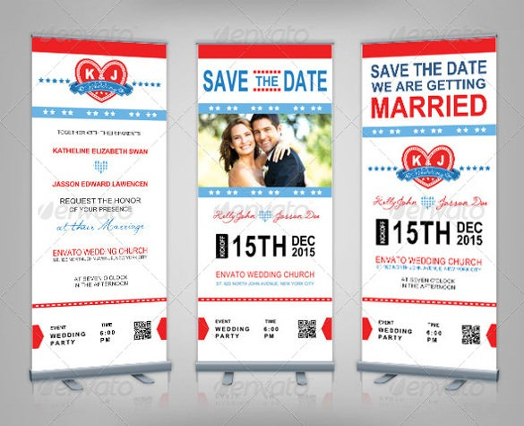 save the date rollup wedding banner template