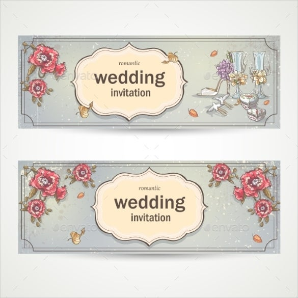 horizontal wedding invitation banner template download