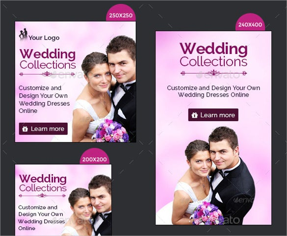 16 different sizes wedding banner templates download