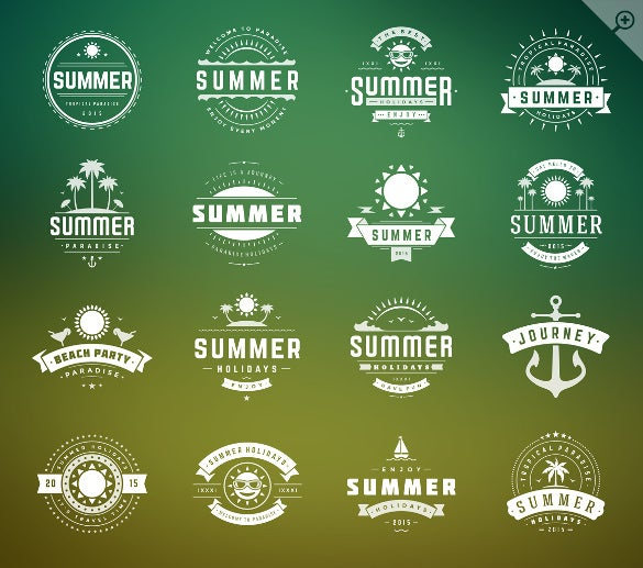 summer holidays badges labels template