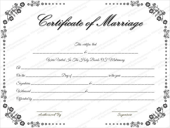 easy to print wedding certificate template download1