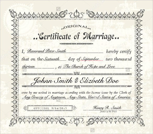 Wedding certificate template 22 free psd ai vector pdf format vector vintage marriage certificate template download yadclub Choice Image
