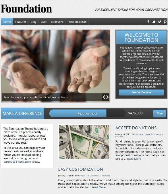 charity foundation non profit php theme 591