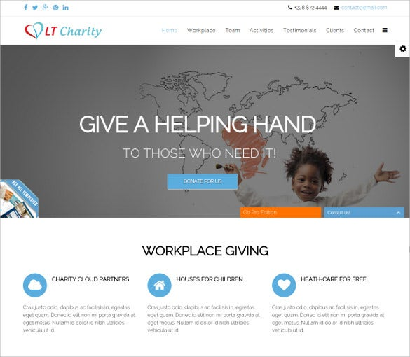 free responsive non profit charity php joomla template