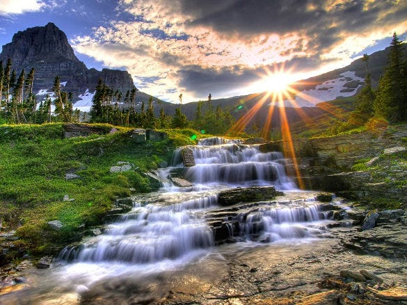small waterfall nature wallpaper