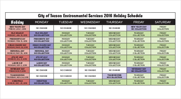 2016 Holiday Schedule Free Pdf Template