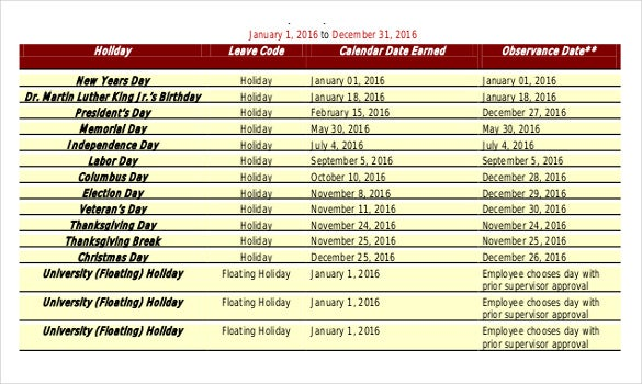 Holiday Schedule For Stateside Example Template Free