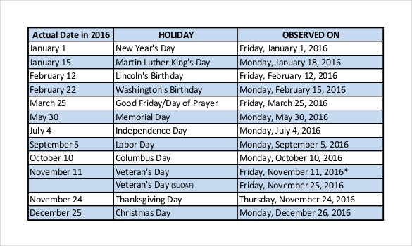 Bor System Office Holiday Schedule Pdf Format Free Template