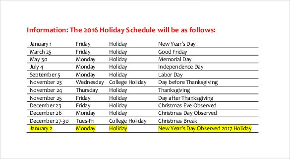 Free 2016 Holiday Schedule Template