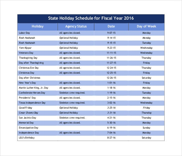 state holiday schedule 2016 pdf free template