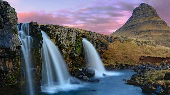 kirkjufell mountain waterfalls iceland nature wallpaper