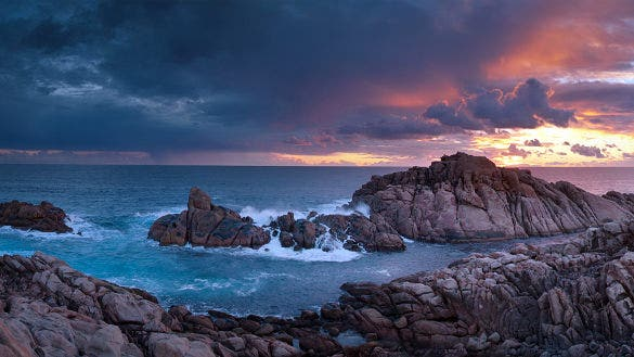 sunset time canal rocks western nature wallpaper