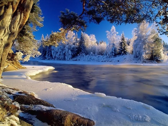 icy river nature wallpaper