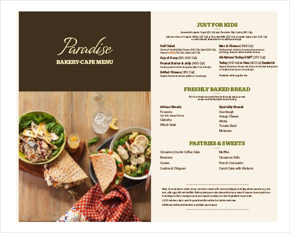 Free PDF Format Of Bakery Menu Template Download