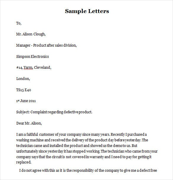 Funny Complaint Letter   Free Word Pdf Documents Download