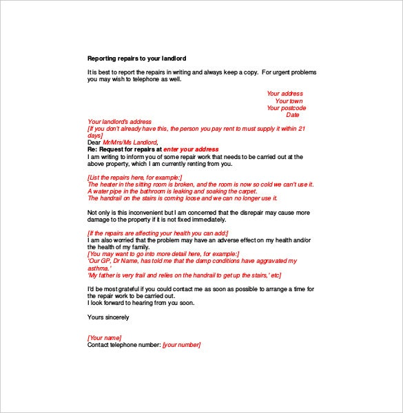 repair complaint letter to landlord pdf format1