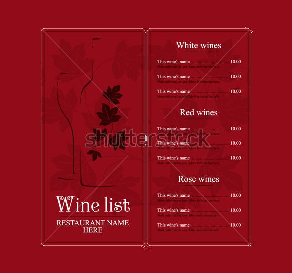 example wine menu list design template