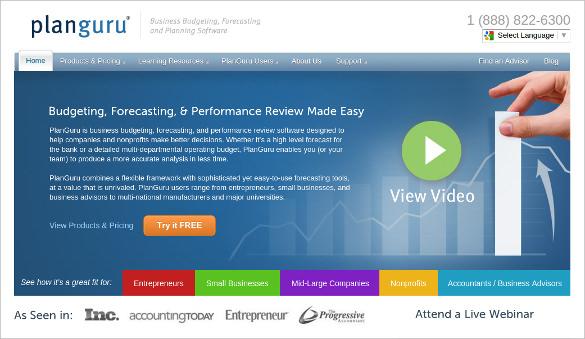 planguru business budgeting financial analysis tool