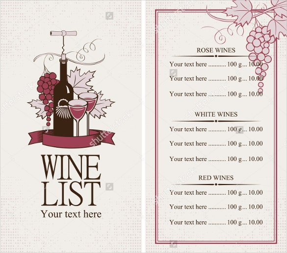 Great Sample Wine Menu Template Regard To Free Wine List Template