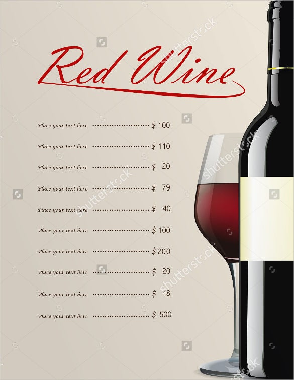 example red wine menu template