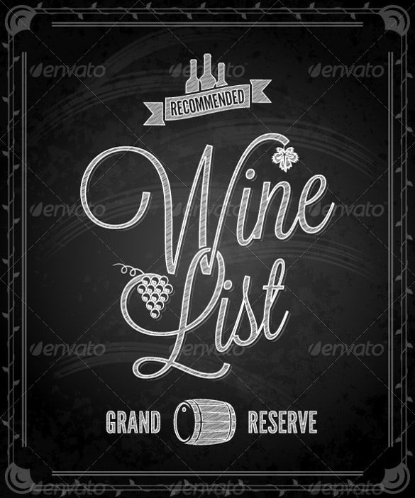 chalkboard frame wine menu vector eps format download