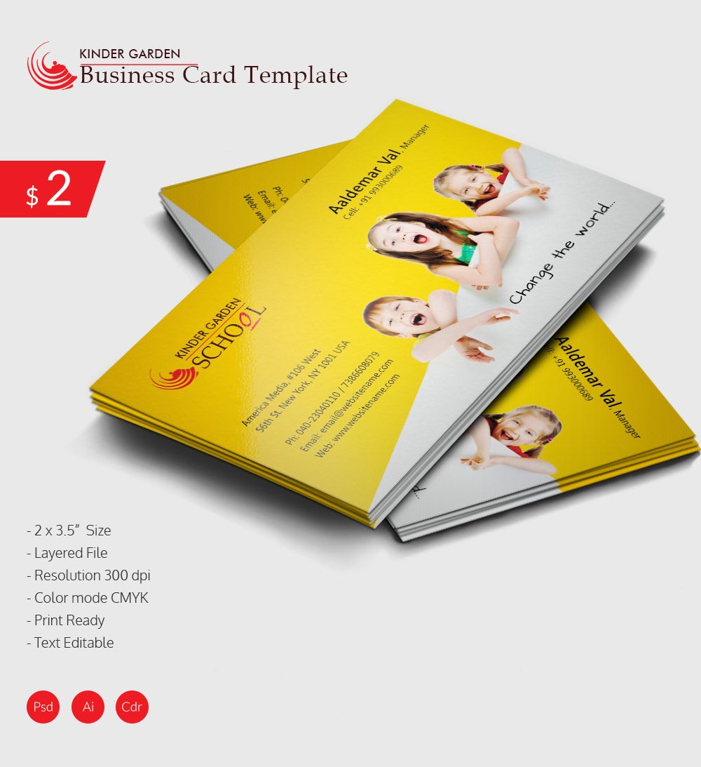 100 premium business cards design templates free download free awesome kindergarten school business card download reheart Image collections