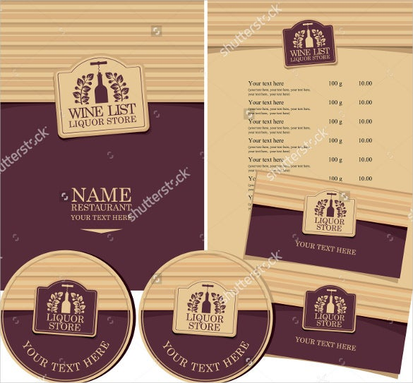 example wine menu template download