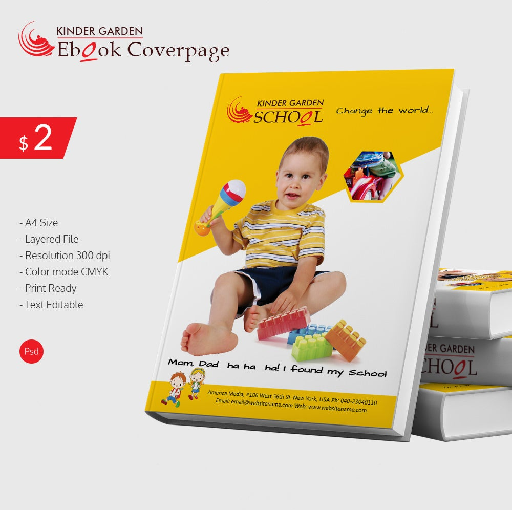 kindergarten school ebook cover page template free premium templates