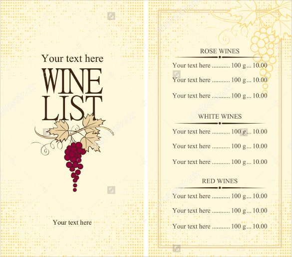 example grape wine menu template download
