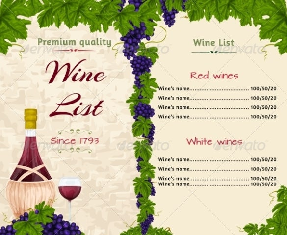 wine menu list template download