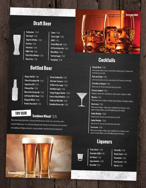 bar and lounge drink menu template sample download2