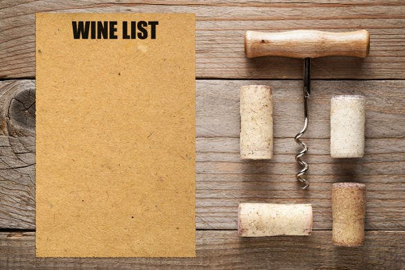 blank wine menu template sample download