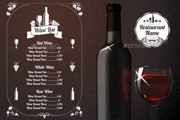 menu template with wine sample download