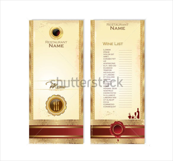 Sample wine menu template