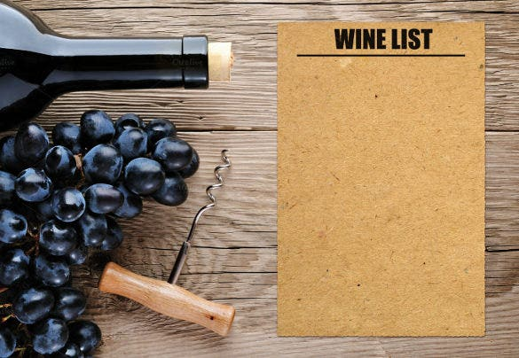 example black grape wine menu list template download