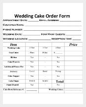 Wedding Cake Order Form Free Document Download