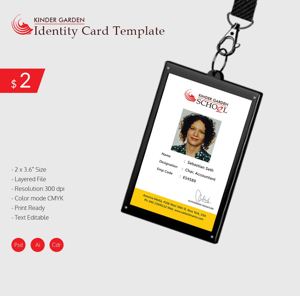 18 id card templates free psd documents download free for School id badge template