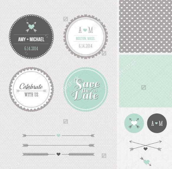 different shapes wedding label template for download