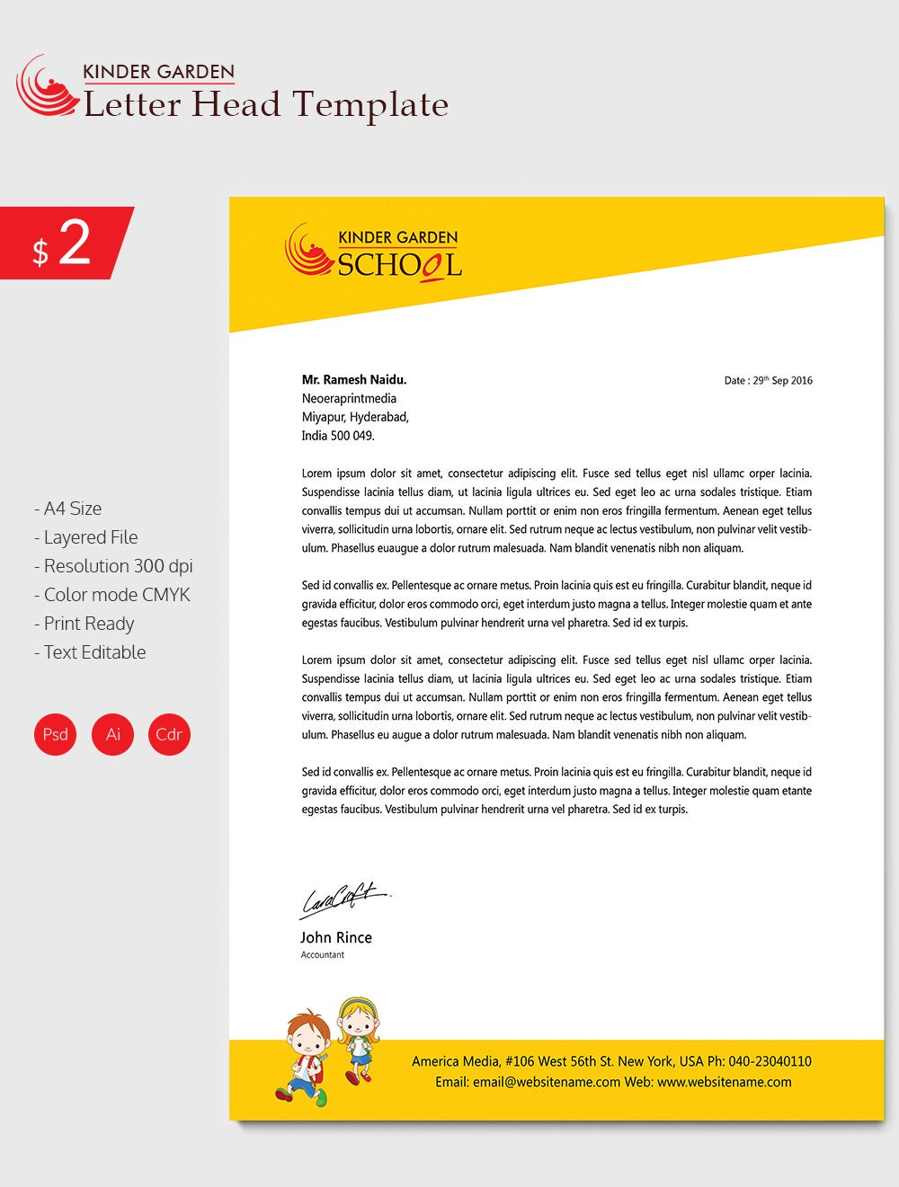 Amazing Kindergarten School Letterhead Download
