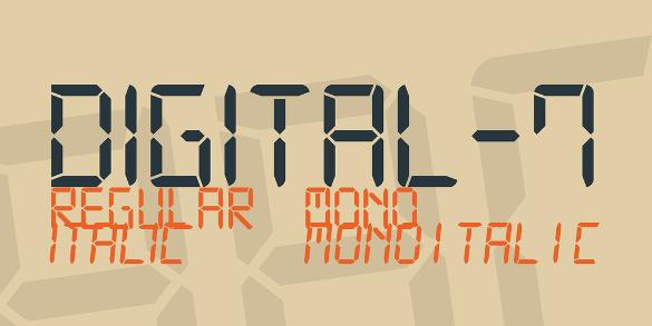 digital 7 font family otf format download