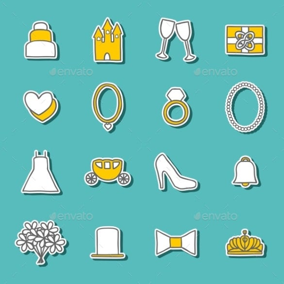 collection of weding stickers template download