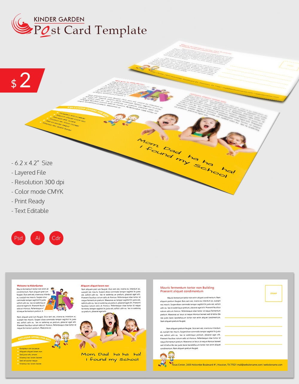 stunning kindergarten school post card download