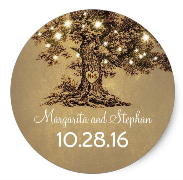 tree background wedding sticker template download