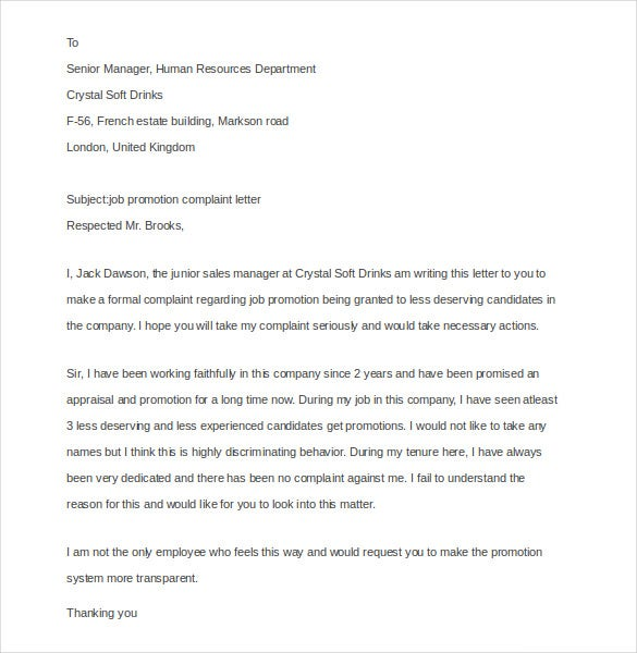 Employee complaint letter 10 free word pdf documents download job promotion employee complaint letter spiritdancerdesigns Images