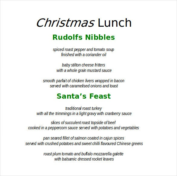 Christmas Menu Template Word Document  Christmas Menu Word Template