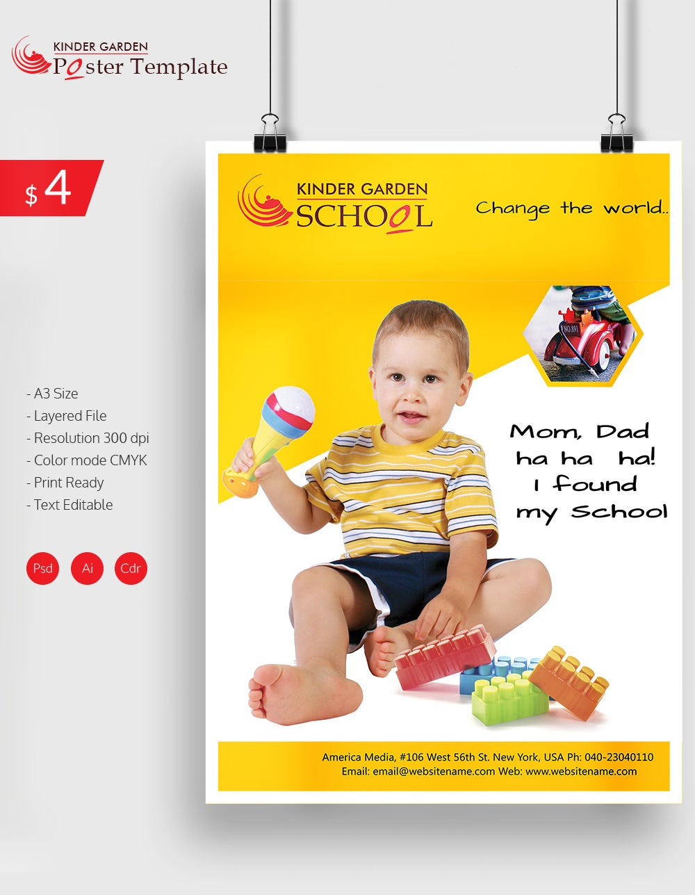 Excellent Kindergarten School Poster Template Download