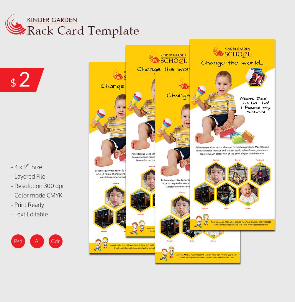 Graceful Kindergarten School Rackcard Template Download